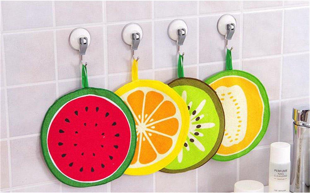4Pcs Hanging cartoon fruit pattern towel absorbent cloth to rub children's handkerchiefs microfiber kitchen towel