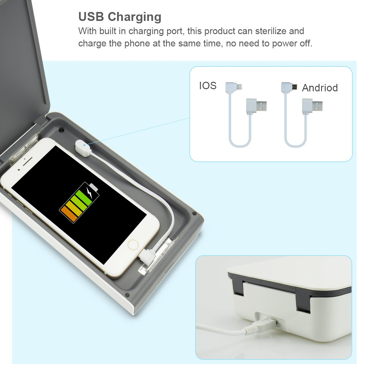 Aneforall 4344499385 Compatible for Phone Sanitizer UV Light Sterilizer Cleaning iPhone Android Smart Phone Toothbrush Jewelry Watches-White