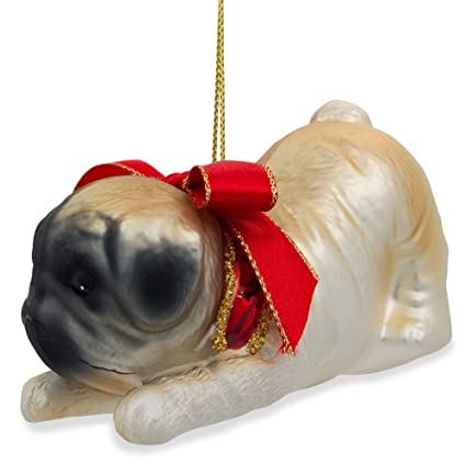 375 l pug dog with bow blown glass christmas ornament