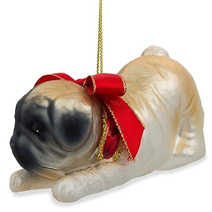 "3.75"" (L) Pug Dog with Bow Blown Glass Christmas Ornament - Amazon.com: 3.75"
