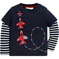 Mengmeng Baby Boys Airplane Long Sleeve T-Shirts Toddler Cotton Shirts Tops Stripe