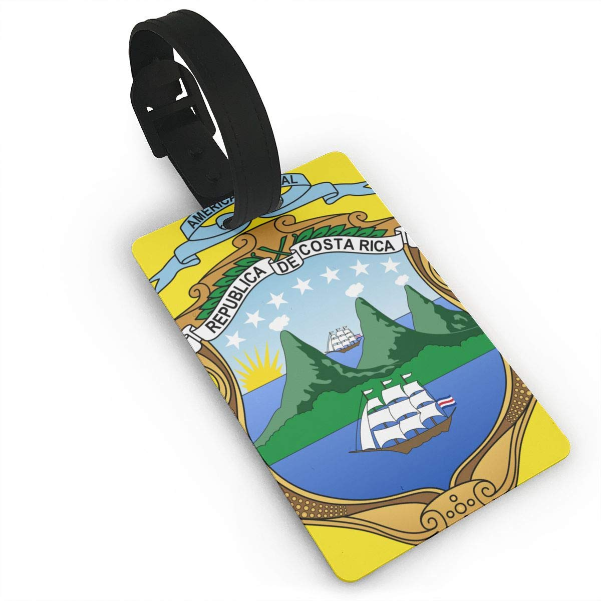 KODW12 Coat of Arms of Costa Rica Luggage Tag Travel Bag Labels Suitcase Bag Tag Name Address Cards
