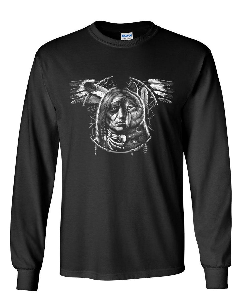 Man Wolf Spirit Dreamcat Native American Chief Tribe Shirts