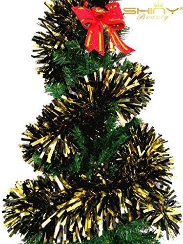 ShinyBeauty Tinsel Garland Black & Gold 6.5 Feet Metallic Foil Tinse Garland Pack of 5 Foil Garland Decorations Christmas Foil Garland for Christmas TG003