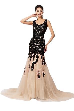 Amazon.com: Sunvary Mermaid Lace Wedding Reception Prom Dress ...