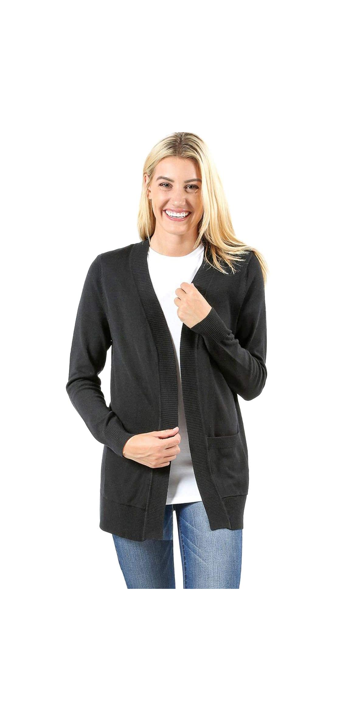 Cardigans For Women Open Front Knit Long Sleeve Pockets Sweater