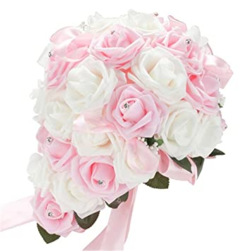 Tangbasi Bouquet De Fleurs Rose Romantique En Mousse Artificiel Pour Mariage Blanc Et Rose Taille Unique
