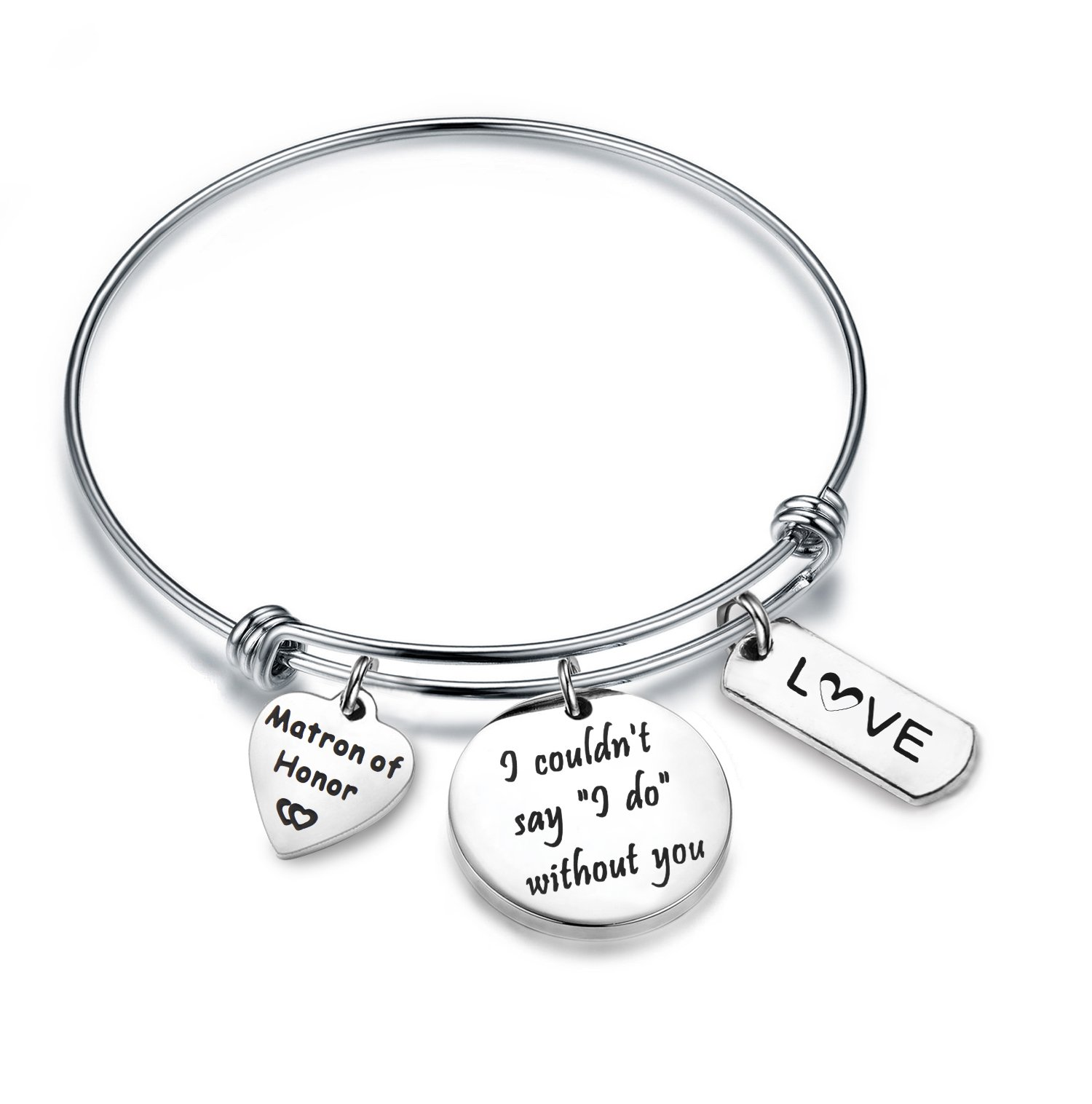 Zuo Bao Bridesmaid Gift I Couldn't Say I Do Without You Bracelet Matron of Honor Jewelry Maid of Honor Proposal Gift (Silver)