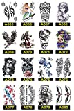 Large Temporary Tattoos Half Arm Fake Tattoo Waterproof Body Stickers for Man Women Teens (16 sheets Style E)