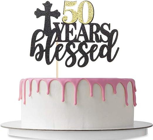 50th Birthday Cake Topper Glittery Dark Purple Fifty 50 /& Fabulous Topper