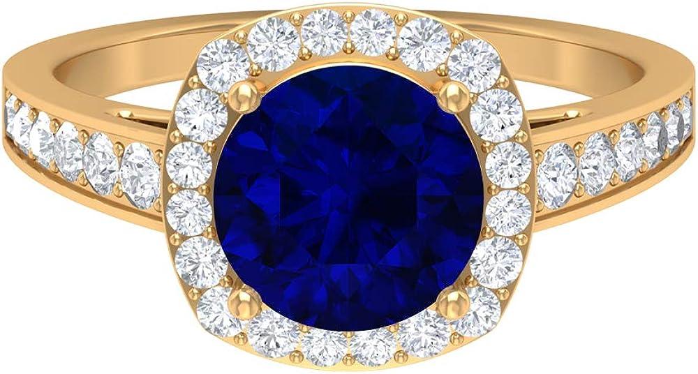 Anillo de halo solitario, piedras preciosas redondas de 2,86 quilates, diamante HI-SI 8 mm de zafiro azul creado en el laboratorio, joyería de oro sólido, 10K Oro
