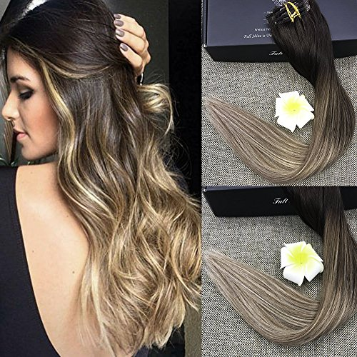 """Full Shine 22"""" Pastel Clip in Hair Extensions Balayage Remy"""