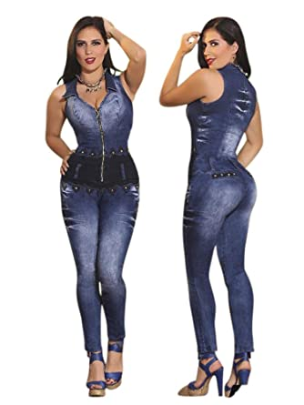 cd00d255bd12 Amazon.com  Yes Brazil Colombian Butt Lift Jean Jumpsuit Enterizo  Colombiano  Clothing