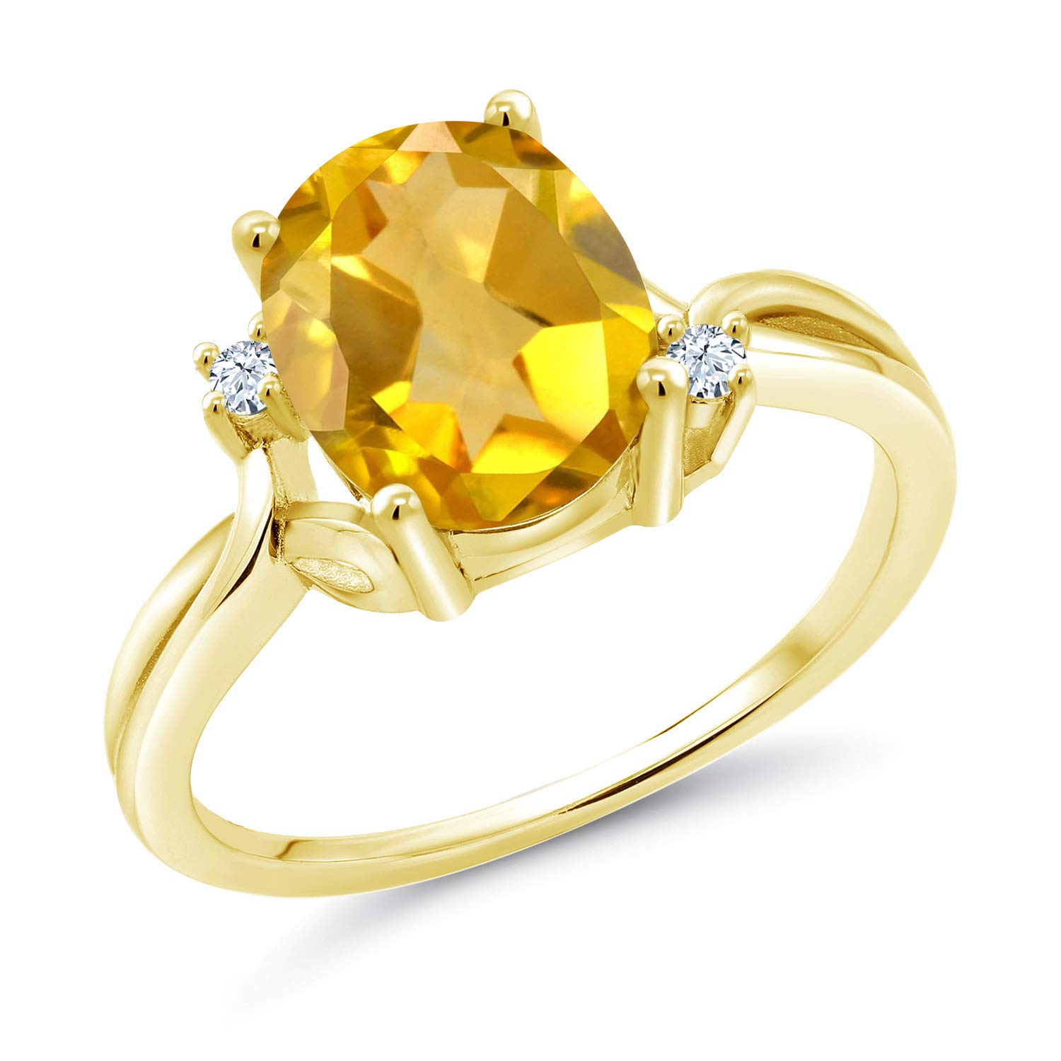 Gem Stone King 2.03 Ct Yellow Citrine White Created Sapphire 18K Yellow Gold Plated Silver Ring Available 5,6,7,8,9