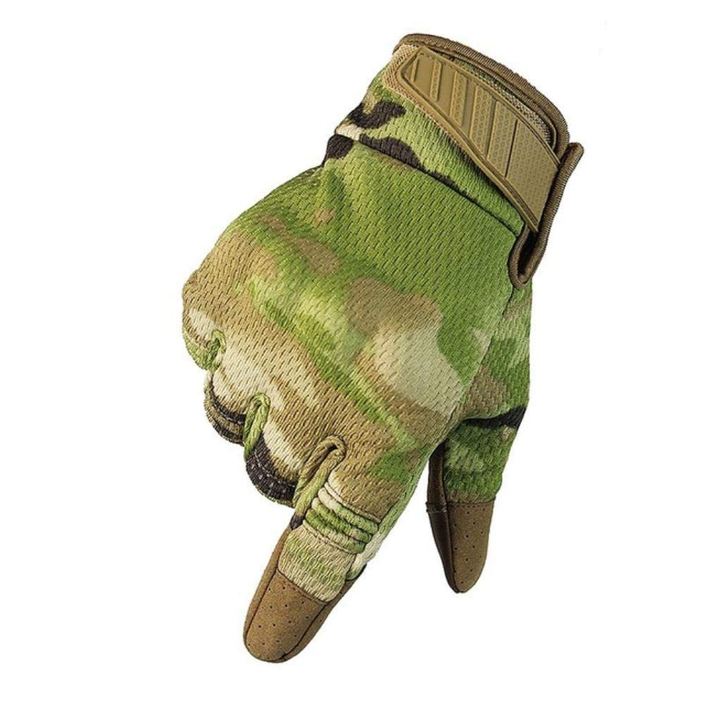 Outdoor Anti-Slip Tactical Gloves Army Military Airsoft Hiking Climbing Shooting Paintball Camo Sport Full Finger Glove,Tan,L