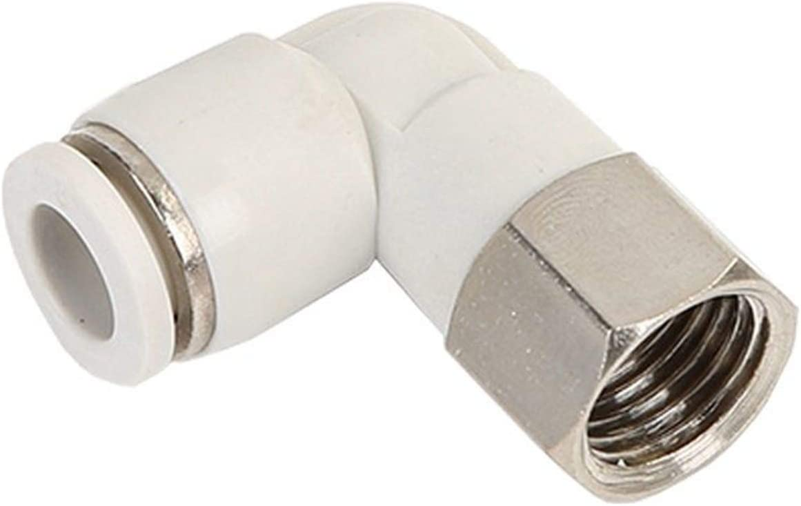 M5 1//8 1//4 3//8 1//2White PLF Hose Pneumatic Female Elbow Connector Tube Air Push In Fitting Color : 6MM White, Specification : 1//4 Sturdy 10pcs OD 4 6 8 10 12mm