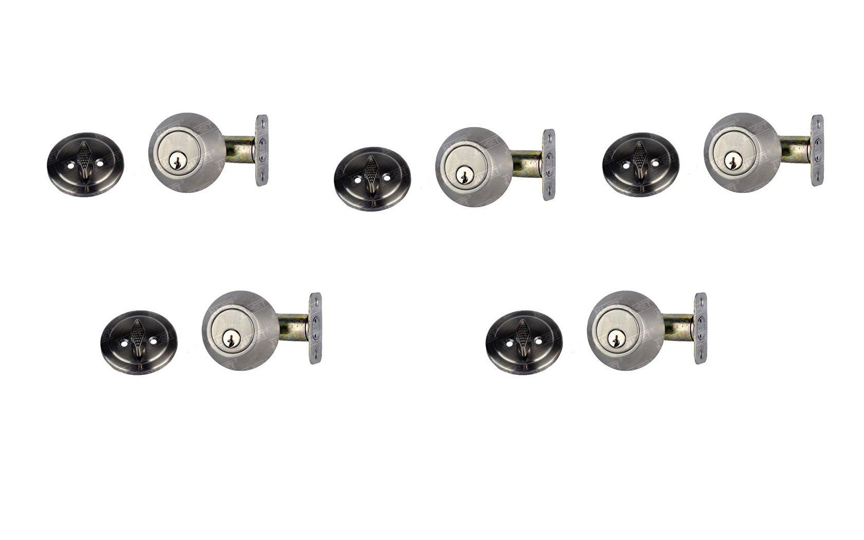 NuSet Single Cylinder Deadbolt, 5 Pack, Keyed Alike, Kwikset Keyway (Satin Stainless Steel)