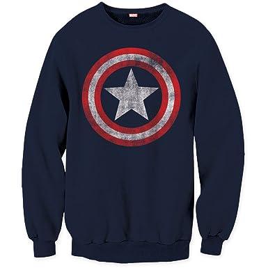 Marvel Comics - para hombre, capitán américa Shield Logo sudadera Azul azul marino Large: Amazon.es: Ropa y accesorios