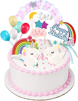 GKJ Unicorn Rainbow Rainbow Bridge Cloud Cake Topper Feliz ...
