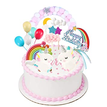GKJ Unicorn Rainbow Rainbow Bridge Cloud Cake Topper Feliz ...
