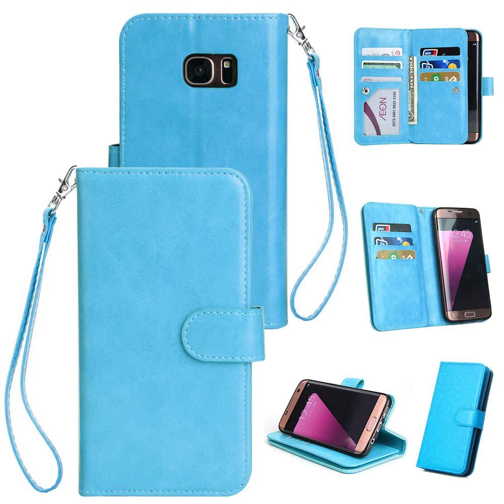 Artiler Handyhülle für Samsung Galaxy s6 Edge Hülle Premium PU Leder Flip Cover mit Magnetverschluss Telefon Ständer und 9 Kartensteckplätze Brieftasche