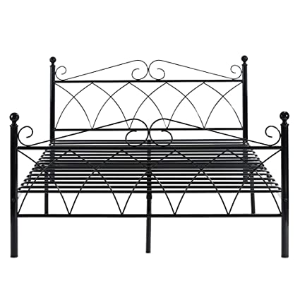 Wondrous Homycasa Metal Bed Frame Two Headboards 6 Legs Mattress Onthecornerstone Fun Painted Chair Ideas Images Onthecornerstoneorg