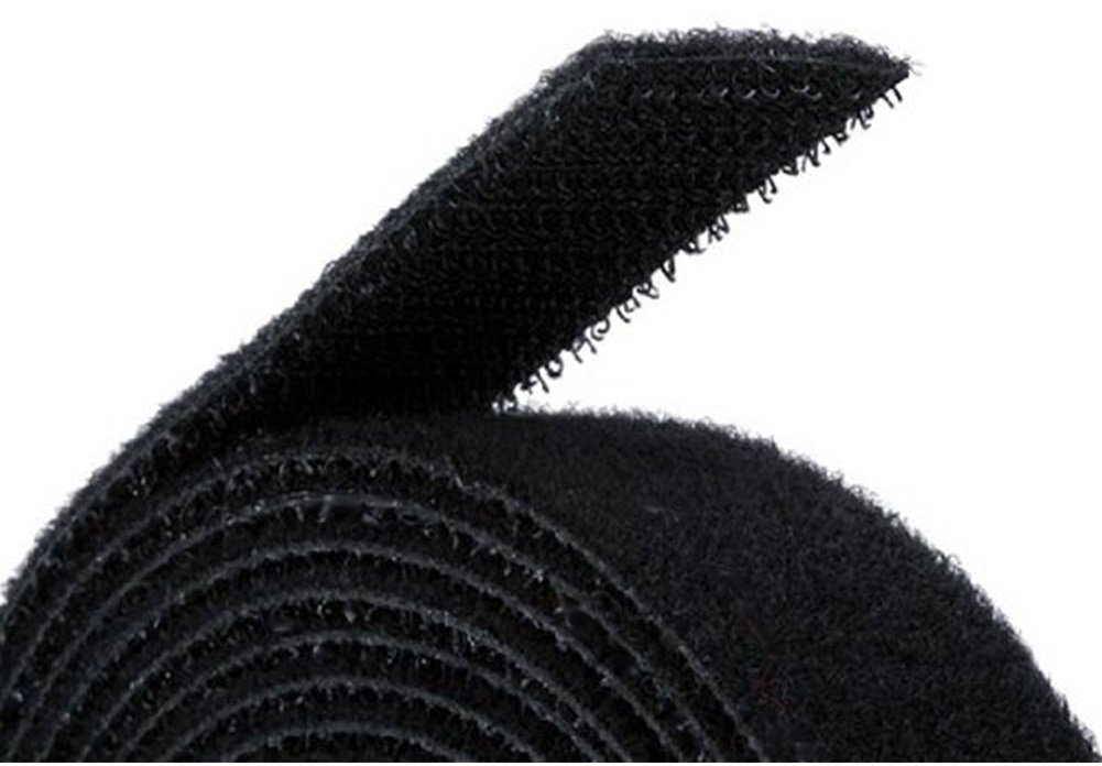 Reusable Hook & Loop Strong Grip Fastener Roll with Soft Touch Microfiber Velour 3/4'' x 16' (3/4'' Wide, 16 Feet Long) - Black