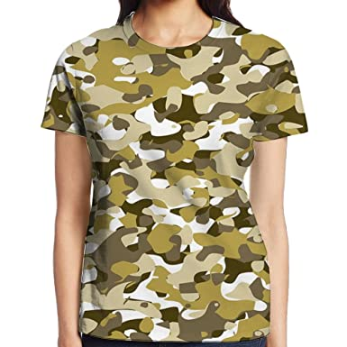 NFDANVC Women s Yellow Camouflage T-Shirt at Amazon Women s Clothing ... d1254df91a6