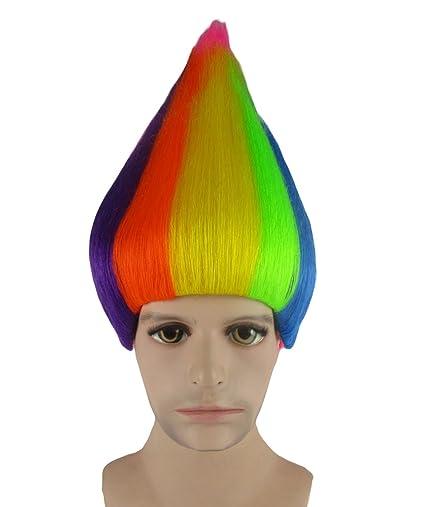 Trols película traje de Cosplay peluca arco iris anhm-087uk adulto