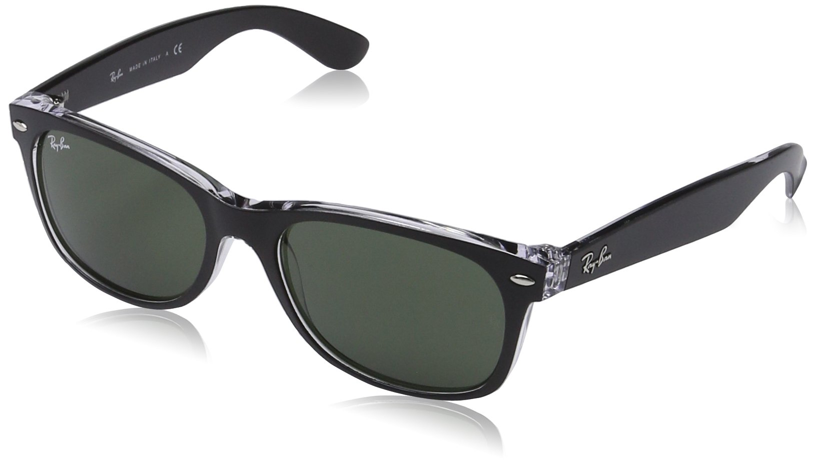 RAY-BAN RB2132 New Wayfarer Sunglasses, Black On Transparent/Green, 55 mm by RAY-BAN