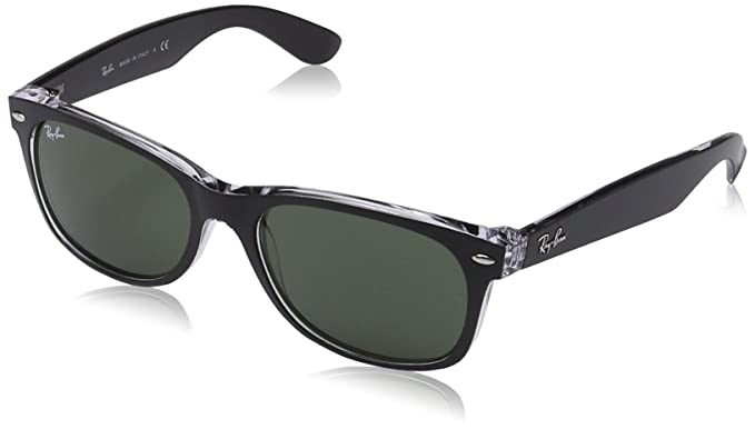 659035cb687 Image Unavailable. Image not available for. Color  Ray-Ban menswomen s New  Wayfarer Square Sunglasses TOP BLACK ON TRANSPARENT ...