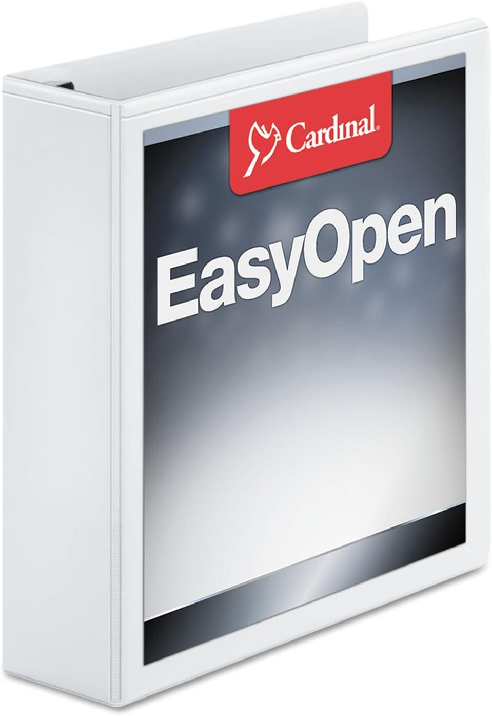 White CRD10320 EA 12 Cardinal Recycled ClearVue EasyOpen Vinyl D-Ring Presentation 3-Ring Binders 2 Capacity