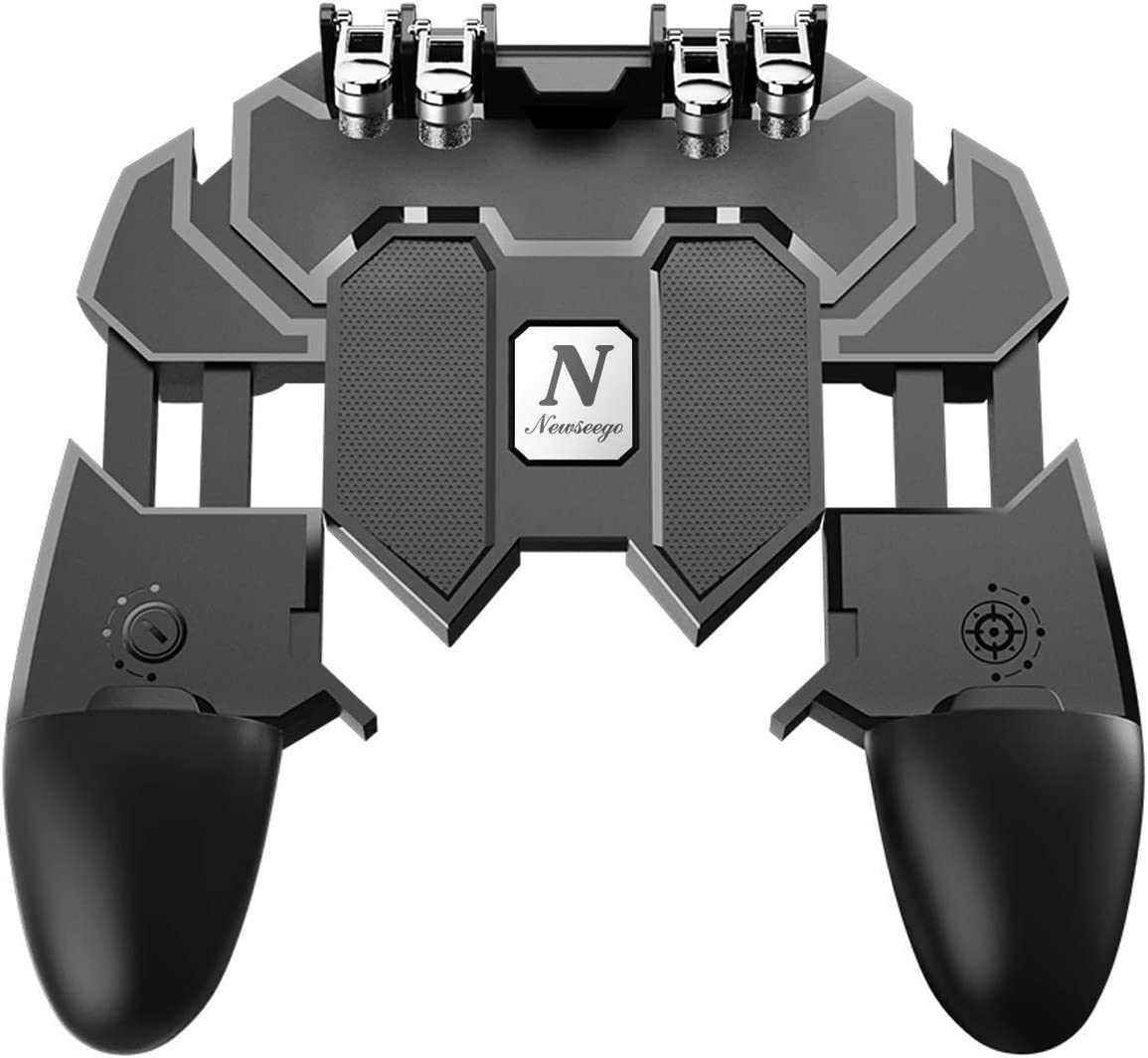 Newseego Mobile Game Controller, [Upgrade] Phone Controller Gamepad with L1R1 6 Fingers Trigger for Shooter Sensitive and Aim Trigger Controller for Android & iOS for Knives Out: Computers & Accessories