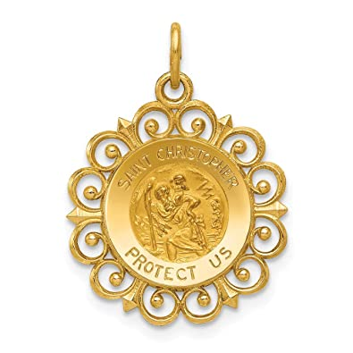 006f47d605a 14k Yellow Gold Saint Christopher Medal Pendant Charm Necklace Religious  Patron St Fine Jewelry Gifts For