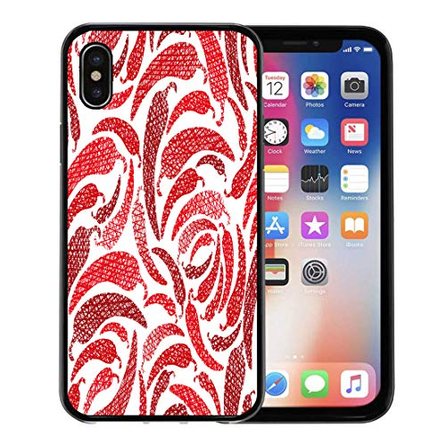 Emvency Phone Case for Apple iPhone Xs case,Pattern Red Hot Chilly Peppers Mexican Food Lines Sketch Chili Geometric for iPhone X Case,Rubber Border Protective Case,Black ()