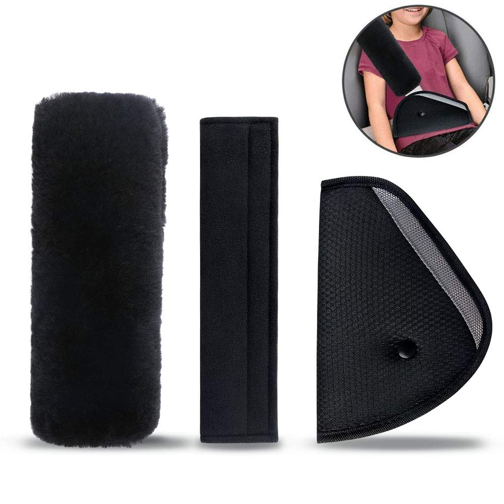 Car Seat Belt Pad Children, URAQT 3 Piece Car Seat Belt Shoulder Pad Belt Pads Pillow and Velvet Bag Great for More Comfort on The Journey UZ1872701-FBA