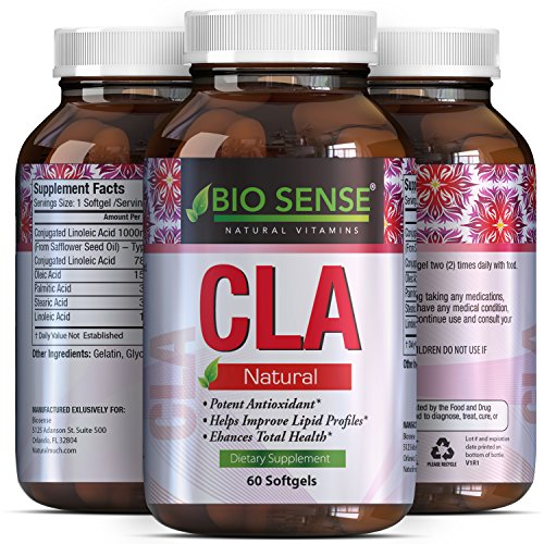CLA Supplement - Safflower Oil - Conjugated Linoleic Acid - Lose Belly Fat - Weight Loss Pills - Build Muscle & Lose Weight Fast - For Men & Women - High Quality + 100% Pure - Bio Sense