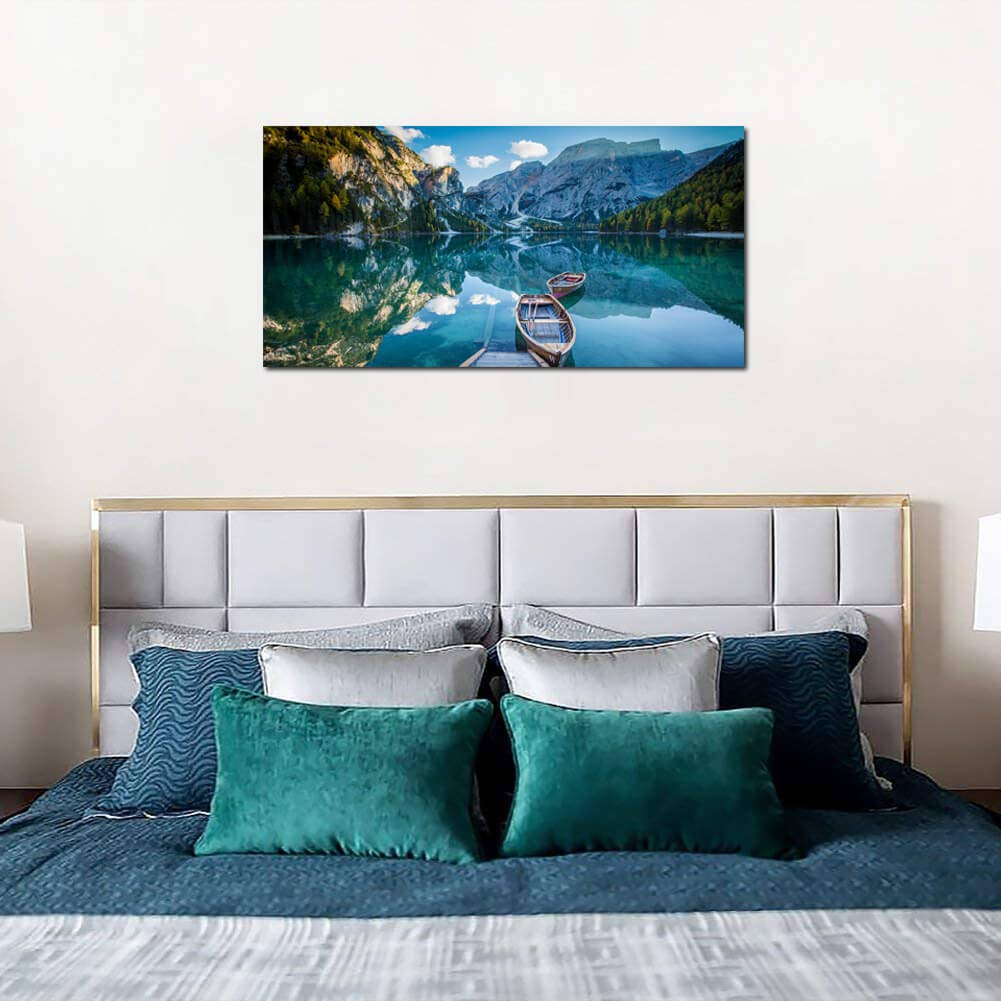 Large Wall Art Decor Canvas Print Picture Painting for Living Room Blue Green Lake Landscape Peaceful Nature Wildlife View Home Bedroom Office Decoration Modern Framed Artwork
