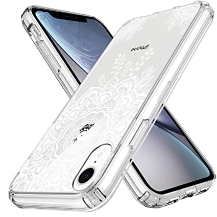 molto carino d86b2 0de28 LK Case for iPhone XR, [Shock Absorbing] White Henna Mandala Floral Lace  Clear Design Printed Air Hybrid with TPU Bumper Protective Case Cover for  ...