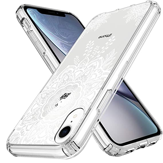 pretty nice 2ea7d 4ecfe LK Case for iPhone XR, [Shock Absorbing] White Henna Mandala Floral Lace  Clear Design Printed Air Hybrid with TPU Bumper Protective Case Cover for  ...