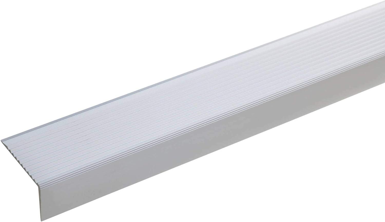 acerto 51029 Perfil angular de escalera de aluminio - 100cm 20x40mm plateado I Antideslizante I Robusto I De fácil instalación I Perfil de borde de escalera perfil de peldaño de escalera de