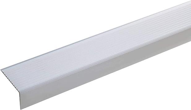 acerto 51029 Perfil angular de escalera de aluminio - 100cm 20x40mm plateado I Antideslizante I Robusto I