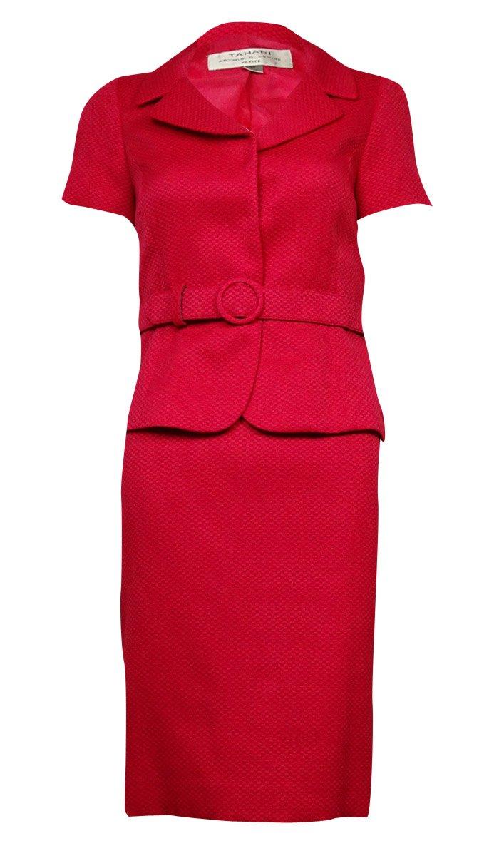Tahari ASL Womens Petites Renee Textured Short Sleeves Skirt Suit Pink 16P