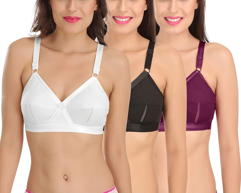 SONA Sujetador de algodón para Mujer Cobertura Completa, no Acolchado, Talla Grande, Multicolor Wht-blk-wne 58: Amazon.es: Ropa y accesorios
