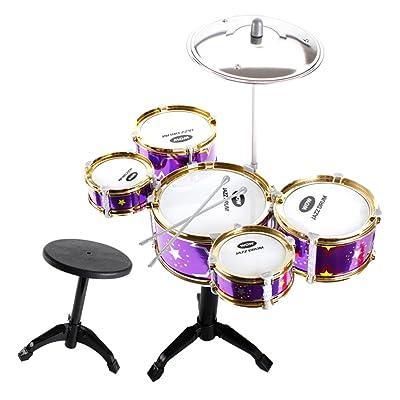 Fenteer Jouet Mini Instrument de Musique Percussion 5 Tambours avec Selles Cadeau Fête D'anniversaire pour Enfant - Violet