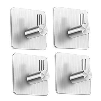 Eletorot 4 piezas Ganchos Adhesivos,Toallero Perchero Ganchos de pared 304 acero inoxidable Ganchos de pared 3M Autoadhesivo ganchos adhesivos para ...