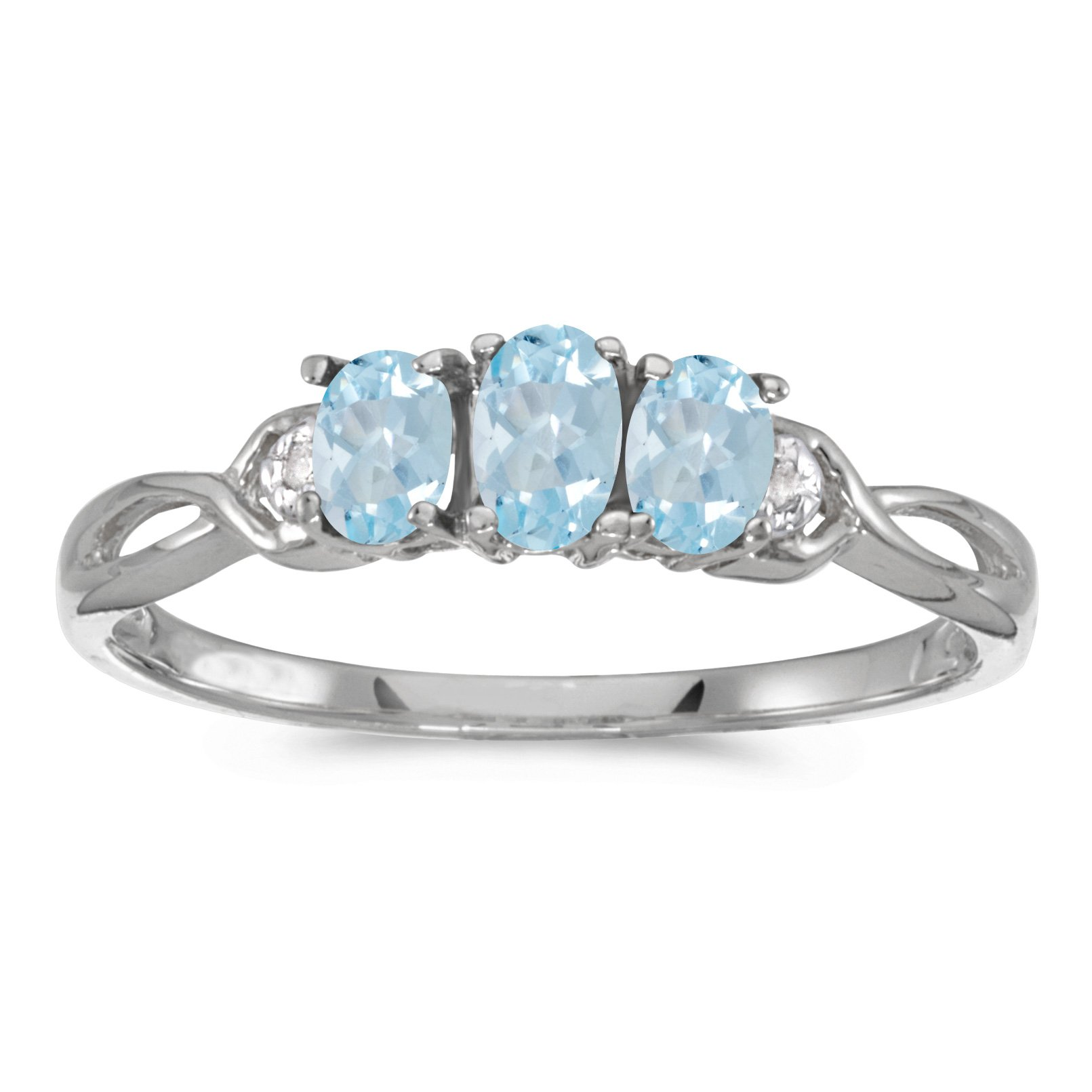 Jewels By Lux 14k White Gold Genuine Birthstone Solitaire Oval Aquamarine And Diamond Three Stone Wedding Engagement Ring - Size 6.5 (2/5 Cttw.)