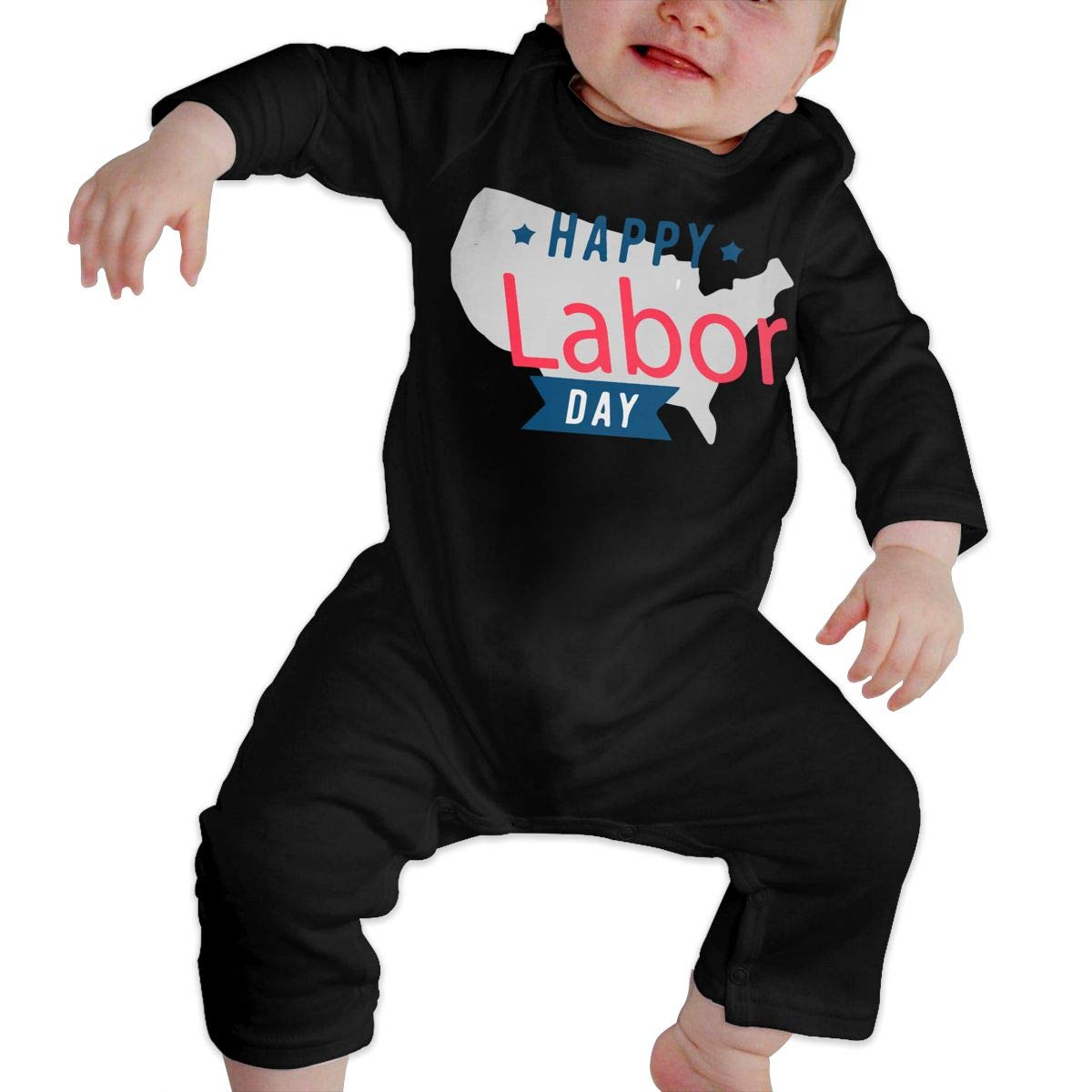 UGFGF-S3 Happy Labor Day Baby Boy Girl Long Sleeve Romper Jumpsuit Toddler Jumpsuit