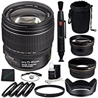 Canon EF-S 15-85mm f/3.5-5.6 IS USM Lens + 72mm 2x Telephoto Lens with pouch + 72mm Wide Angle Lens + Pouch + 72mm Lens Hood + Cloth Bundle