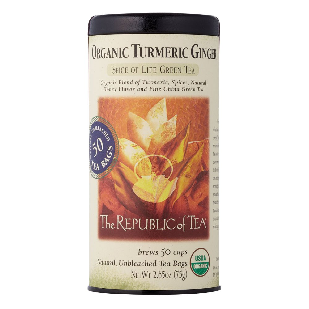 The Republic Of Tea Organic Turmeric Ginger Green Tea, 50 Tea Bags